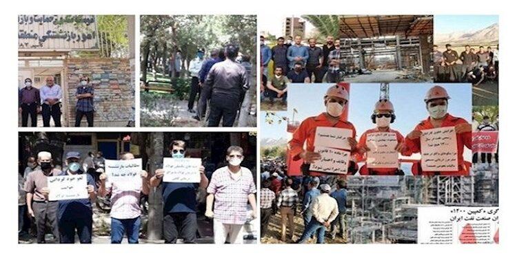 احتجاجات المتقاعدين تزامنًا مع انتفاضة المواطنين في خوزستان وإضراب عمال النفط